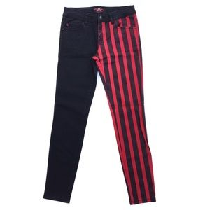 Royal Bones Black Red Stripes Goth Skinny Jeans 7